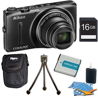 COOLPIX S9500 18.1 MP 22x Zoom Built-In Wi-Fi Digital Camera Black Plus 16GB Kit