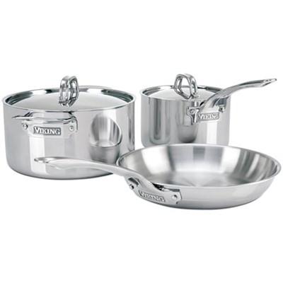 3-Ply 5 Piece Cookware Starter Set, Silver