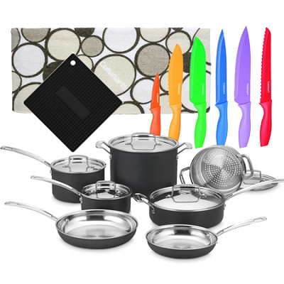 MultiClad Unlimited 12-Pc Cookware Set with 12 Pc Knife Set, Pot holder & Towel