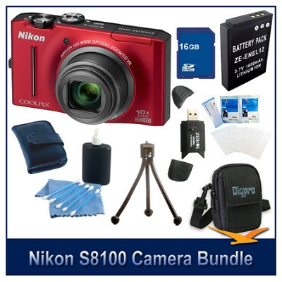 COOLPIX S8100 Red Camera 16GB Bundle w/ Reader, Case, Battery, Tripod, & More