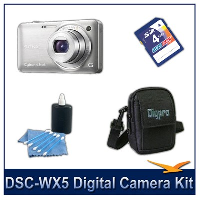 Cyber-shot DSC-WX5 Digital Camera (Silver) 4GB Card, Case, and more