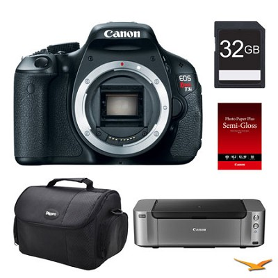 EOS T3i DSLR Camera (Body), 32GB, Printer Bundle