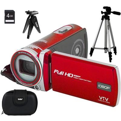iD975 Polaroid Dual Shot Video Camera - Red - 4GB Accessory Bundle