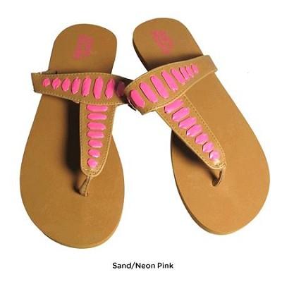 FOM277 Sandals Sand/Neon Pink Size Medium (7/8)