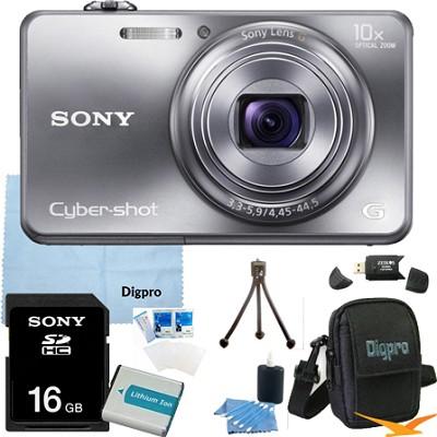 Cyber-shot DSC-WX150 18.2 MP 10x Optical HD Video Camera (Silver) 16GB Bundle
