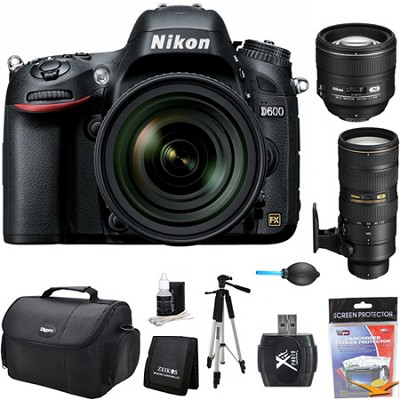 D600 24.3 MP FX-Format Digital SLR Camera w/ 24-85mm, 85mm, 70-200mm Lens Kit