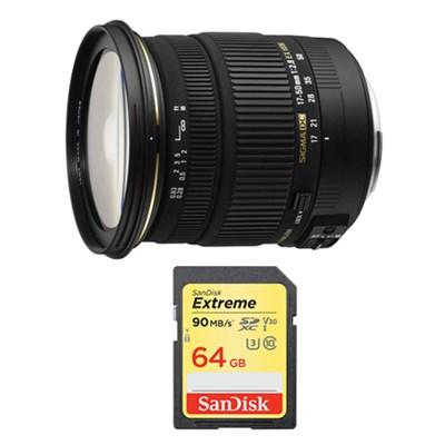 17-50mm f/2.8 EX DC OS HSM FLD Zoom Lens and 64GB Card Bundle