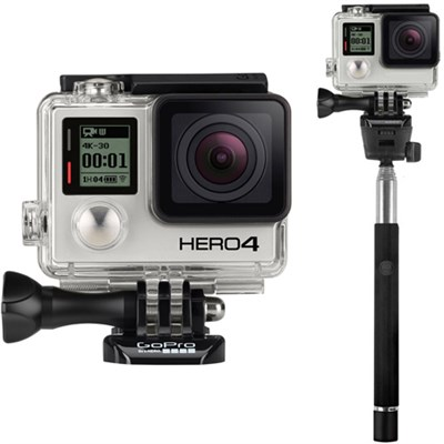 HERO4 Black Edition 4K Action Camera with Selfie Stick for GoPro Bundle
