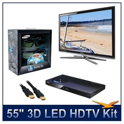 UN55C7000 - 55` 3D 1080p 240Hz LED HDTV Kit w/ 3D Glasses & Blu-Ray Player