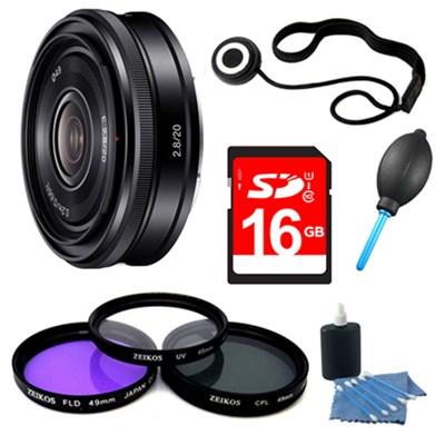 SEL20F28 E-mount 20mm F2.8 Prime Lens 16GB Bundle