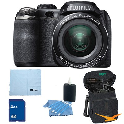 FinePix S4200 24x Optical Zoom 14 MP 3 inch LCD Digital Camera 4 GB Bundle