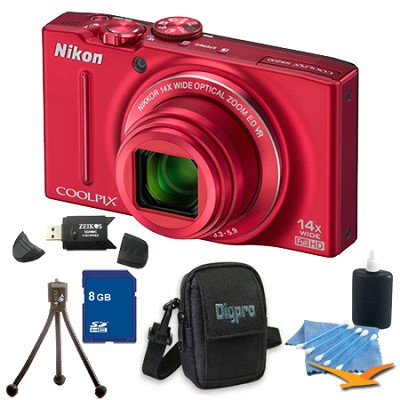 COOLPIX S8200 Red 14x Zoom 16MP Digital Camera 8GB Bundle