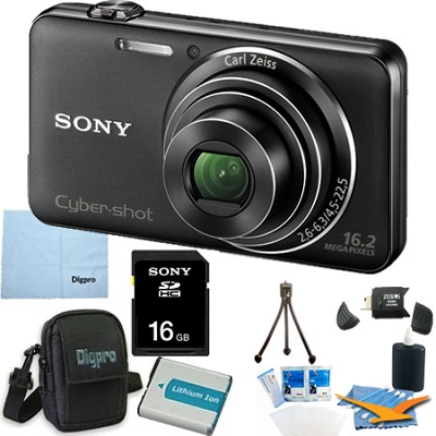 DSC-WX50/B - 16.2MP CMOS Camera 5X Optical Zoom 2.7` LCD (Black) 16GB Bundle