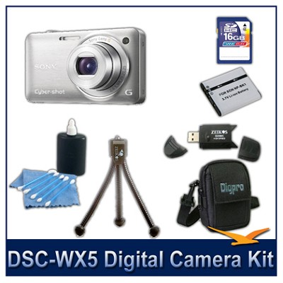 Cyber-shot DSC-WX5 Digital Camera (Silver) 16GB Card, Case, and more