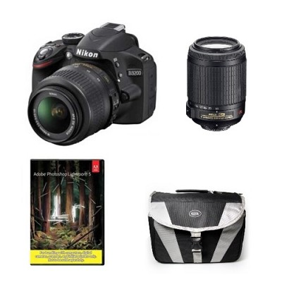 D3200 Digital SLR Camera w/ 18-55mm & 55-200 VR Refurb.Deal w/ Adobe Lightroom 5