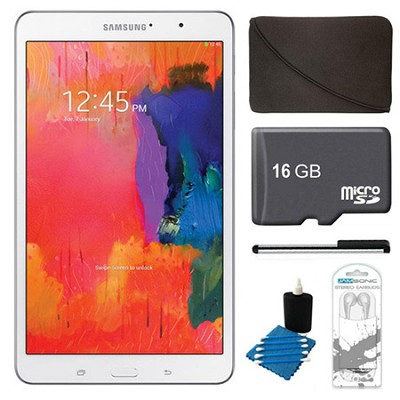 Galaxy Tab Pro 8.4` White 16GB Tablet, 16GB Card, Headphones, and Case Bundle