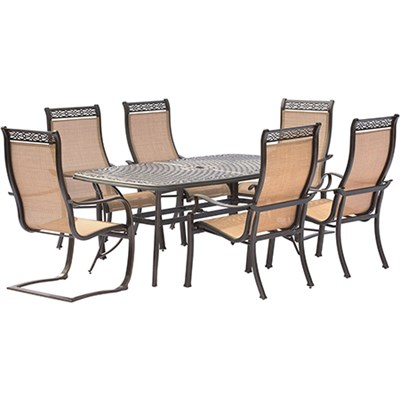 Manor 7PC Dining Set: 4 Sling Chrs 2 Spng Sling Chrs 38x72 Cast Tbl