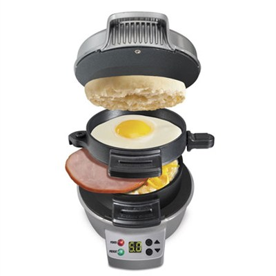 25478 Breakfast Sandwich Maker with Timer, Silver