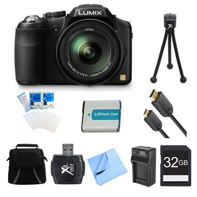LUMIX DMC-FZ200K Digital Camera 32GB, Battery, and Charger Bundle