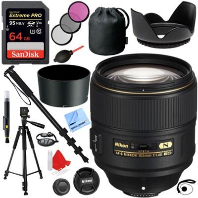 AF-S NIKKOR 105mm f/1.4E ED Full Frame Lens + 64GB Accessories Kit