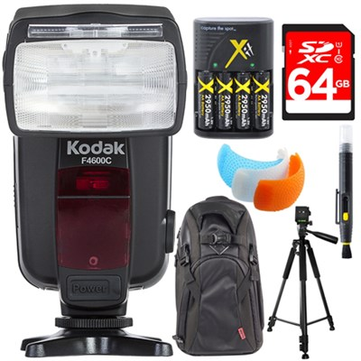 F4600C Flash E-TTL 18-180 Power Zoom for Canon E-TTL Camera + Deluxe Bundle