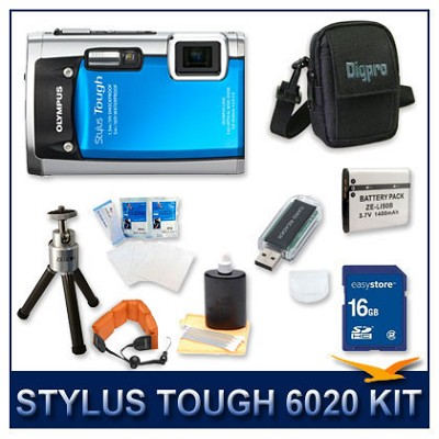 Stylus Tough 6020 Waterproof Shockproof Digital Camera (Blue) w/ 16 GB Memory