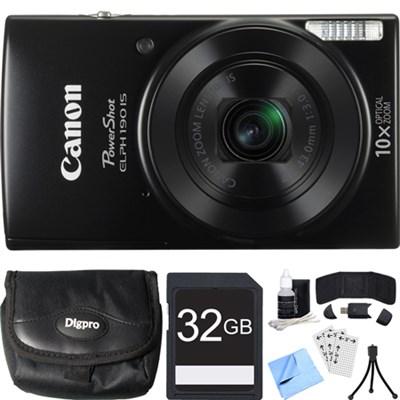 PowerShot ELPH 190 IS Black Digital Camera w/ 10x Optical Zoom 32GB Card Bundle