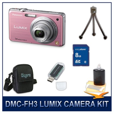 DMC-FH3P LUMIX 14.1 MP Digital Camera (Pink), 8GB SD Card, and Camera Case