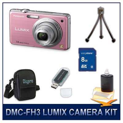 DMC-FH3P LUMIX 14.1 MP Digital Camera (Pink), 8GB SD Card, and Camera Case