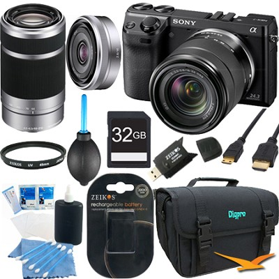 NEX7K/B NEX-7 24.3 MP Black Camera 32GB Bundle w/ 18-55mm, 55-210mm & 16mm lens