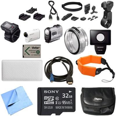 FDR-X1000VR/W 4K Action Cam and LiveView Remote Kit Handle Bar Mount Bundle