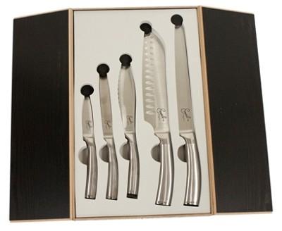 Forged German Steel Cutlery 5 Piece Set in Wooden Storage Box -Stainless Handles