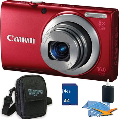 PowerShot A4000 IS 16MP Red Digital Camera 4GB Bundle