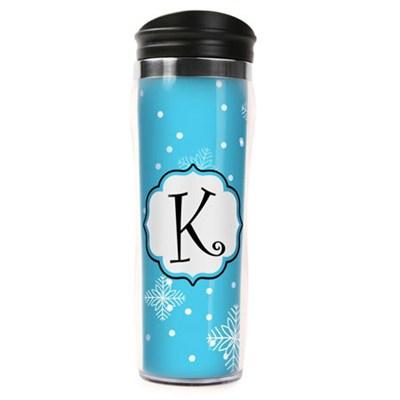 Letter `K` Travel Mug Tumbler (14oz) - Blue