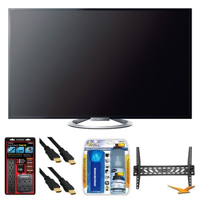 KDL-47W802A 47` 120Hz 1080p 3D WiFi LED HDTV Wall Mount Bundle