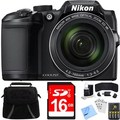 COOLPIX B500 16MP 40x Optical Zoom Digital Camera w/ Built-in Wi-Fi 16GB Bundle