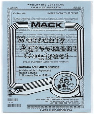 Three Year Warranty Certificate for portable multimedia /MP3's  **1020**