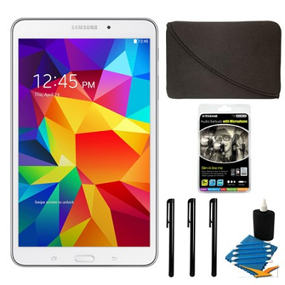 Galaxy Tab 4 White 16GB 8` Tablet and Case Bundle