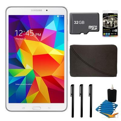 Galaxy Tab 4 White 16GB 8` Tablet, 32GB Card, and Case Bundle