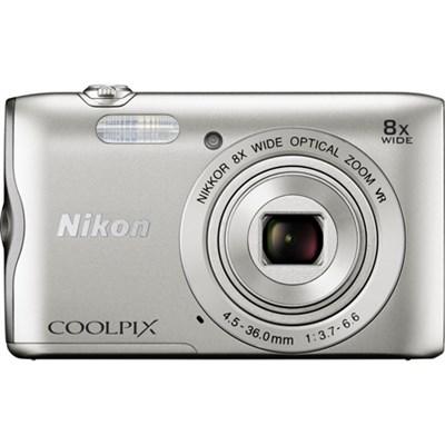 Coolpix A300 20.1MP 8x Optical Zoom NIKKOR WiFi Silver Digital Camera Refurbish