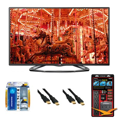 47LA6200 47` 1080p 3D Smart TV 120Hz Dual Core 3D Direct LED Value Bundle