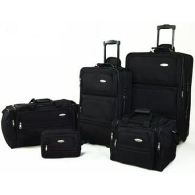 5 Piece Signature Lightweight Travel Luggage Set in Black