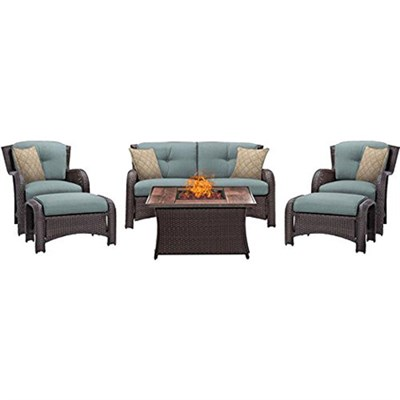 Montana 6-Piece Lounge Set in Ocean Blue with Fire Pit Table - MON6PCFP-BLU