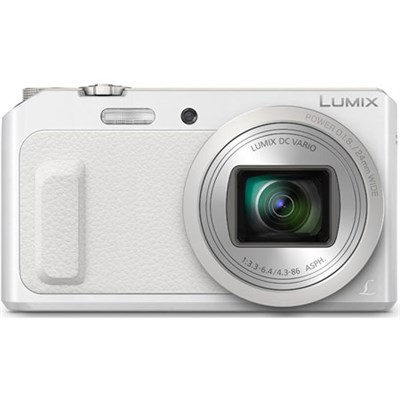 LUMIX DMC-ZS45 20X Zoom White Digital Camera w/ Wink-Activated Selfie - OPEN BOX