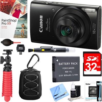 PowerShot ELPH 190 IS Digital Camera (Black) + 32GB Deluxe Accessory Bundle