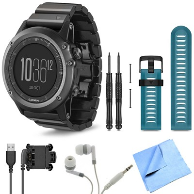 fenix 3 Multisport Training Sapphire GPS Watch Blue Band Bundle