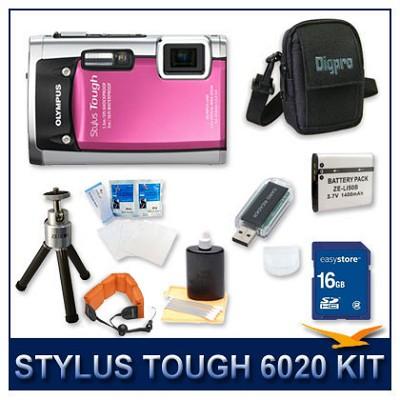Stylus Tough 6020 Waterproof Shockproof Digital Camera (Pink) w/ 16 GB Memory