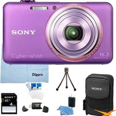 DSC-WX70/V - 16.2MP Exmor R CMOS Camera 3` LCD 5x Zoom (Violet) 4GB Bundle