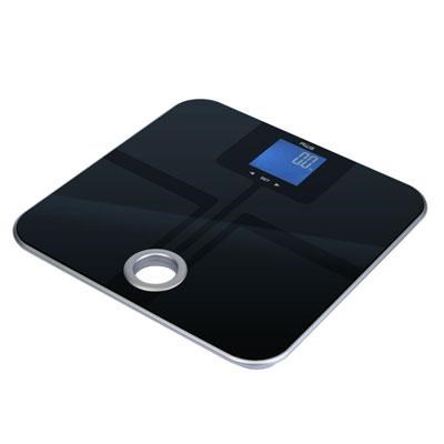 Mercury Black Glass Top Bathroom Scale with Carrying Handle - MSL-180