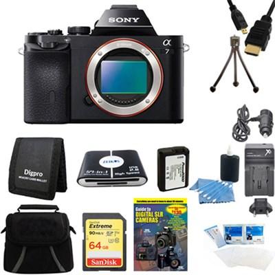 Alpha 7 a7 Digital Camera 64GB SDXC Card and Battery Bundle